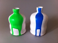 Small bottles with paint drip